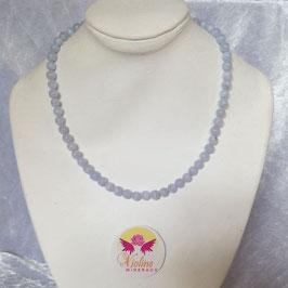 agate dentelle bleue, collier perles 6mm