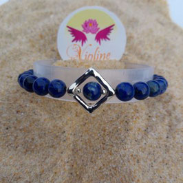 lapis lazuli, bracelet 6mm + losange