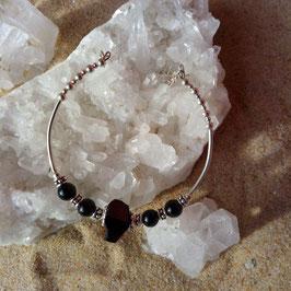 Tourmaline noire, bracelet semi rigide