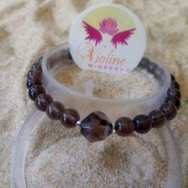 Quartz fumé, bracelet perles  6mm - 10mm