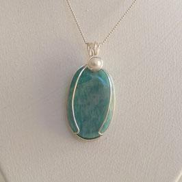amazonite, pendentif perles nacre