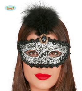 Maschera argentata con piuma