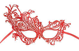 Maschera pizzo rosso asimmetrica