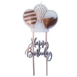 Candelina Palloncini Happy Birthday Rose Gold