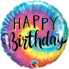 "Palloncino 18"" mylar Happy Birthday ""Tie Dye Swirls"""