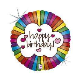 "Palloncino 18"" mylar Happy Birthday ""Retro Rainbow"""