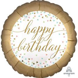 Palloncino happy birthday oro e bianco con confetti