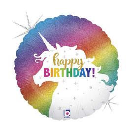 "Palloncino 18"" mylar H.B. Unicorno ""Glitter Unicorn Birthday"""
