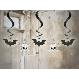 spirali decorative pipistrelli e teschi