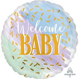 "Palloncino 18"" mylar Confetti Oro ""Welcome Baby!"""