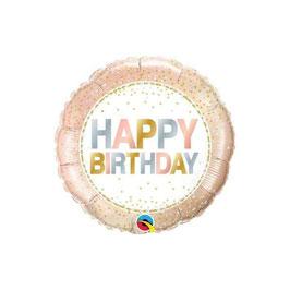 Palloncino happy birthday metallic pois rosegold