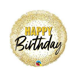Palloncino happy birthday oro e nero