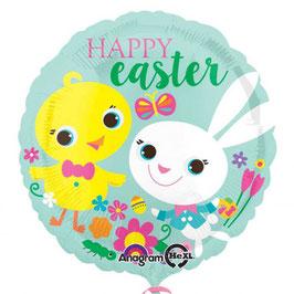 Palloncino tondo pulcino e coniglio Pasqua