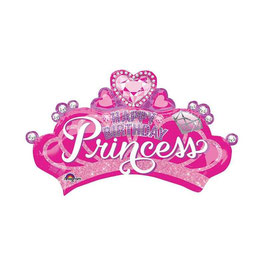 Palloncino Mylar Super Shape Happy Birthday Princess Crown 81x48 cm