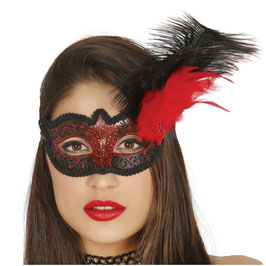 Maschera nero e rosso con piuma