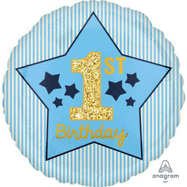 "Palloncino 18"" mylar 1° Compleanno Celeste ""1st Birthday"""