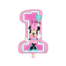 "Palloncino 28"" Super Shape mylar Minnie First Birthday"