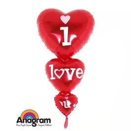 Palloncino 3 cuori i love you