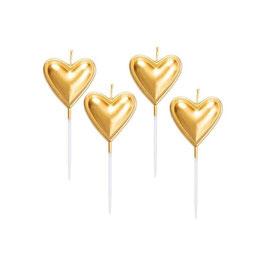 Candeline cuori oro