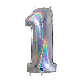 Palloncino mylar numero Glitter Olografico