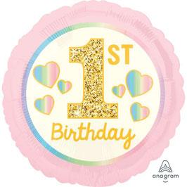"""Palloncino 18"""" mylar 1° Compleanno Rosa """"1st Birthday"""""""