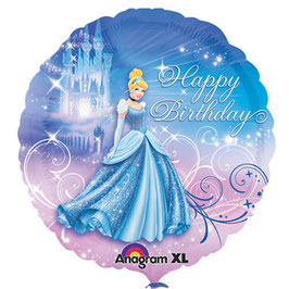 Palloncino Mylar Cenerentola Happy Birthday 45 cm
