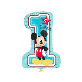 "Palloncino 28"" Super Shape mylar Mickey First Birthday"