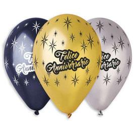 Palloncini Lattice Felice Anniversario 100 pezzi 30 cm