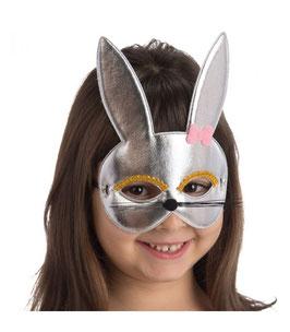 Maschera coniglio argento da bambina
