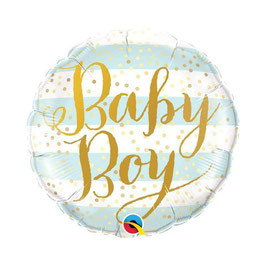 """Palloncino 18"""" mylar Pois Gold """"Baby Stripes"""""""