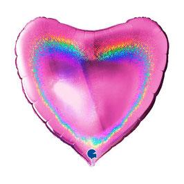 Palloncino mylar cuore iridescente Olografico