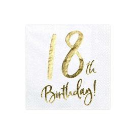 Tovagliolo Happy Birthday 18anni Metal 20pz