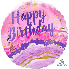 "Palloncino 18"" mylar Happy Birthday ""Watercolor Marble"""