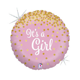 "Palloncino 18"" mylar Rosa ""Glittering It's a Girl o Boy"""
