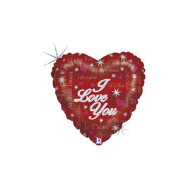 """Palloncino 18"""" mylar CUORE I LOVE YOU SPARKLING LOVE"""