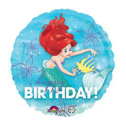 Palloncino Mylar Happy Birthday Ariel 45 cm