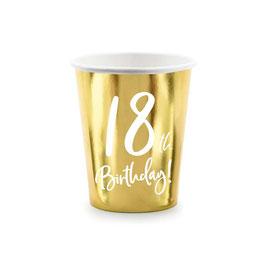 """Bicchiere Oro 18anni """"18th Birthday"""" 6pz"""