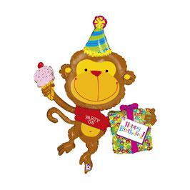 Palloncino Happy Birthday scimmietta