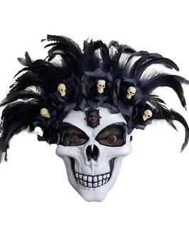 Maschera teschio con piume