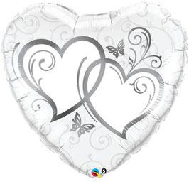 Palloncino hearts silver