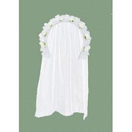 Cerchietto Bianco con velo e roselline