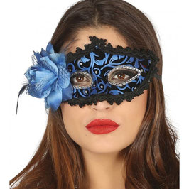 Maschera blu con fiore