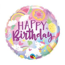 "Palloncino unicorno mylar H.Birthday ""Fantastical Fun"""