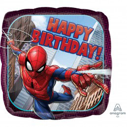 Palloncino  Spiderman Happy Birthday quadrato