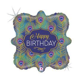"Palloncino 18"" Junior Shape Happy Birthday ""Peacock Birthday"""