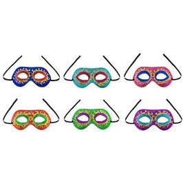 Maschera in plastica dipinta con decori glitter