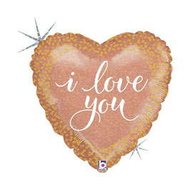 """Palloncino 18"""" mylar Cuore """"I Love You Rose Gold"""""""