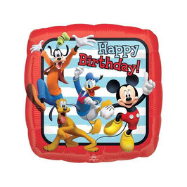 Palloncino happy birthday topolino quadrato