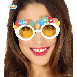 Occhiale happy birthday bianco con palloncini