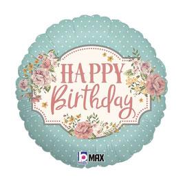 """Palloncino 18"""" mylar Shabby Chic """"Vintage Birthday"""""""